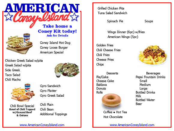 American coney island for American cuisine menu